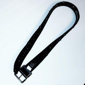 Express Accessories - Genuine Leather Rhinestone &Silver Stud Bling Belt